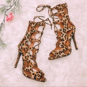 Shoes - Leopard Lace Up Heels